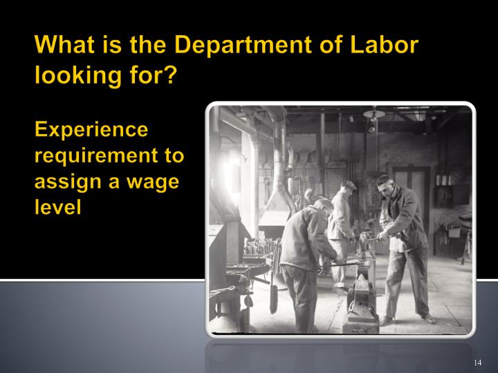 Experience requirement to assign a wage level