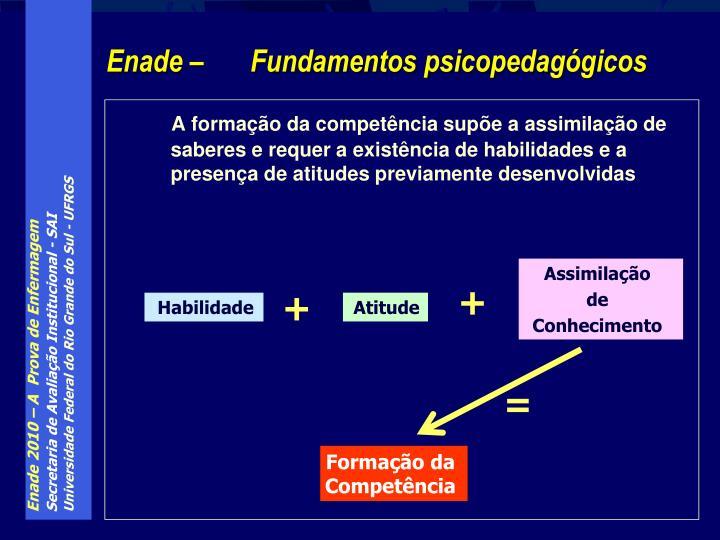 A formação da competência supõe a assimilação de saberes e requer a existência de habilidades e a presença de atitudes previamente desenvolvidas