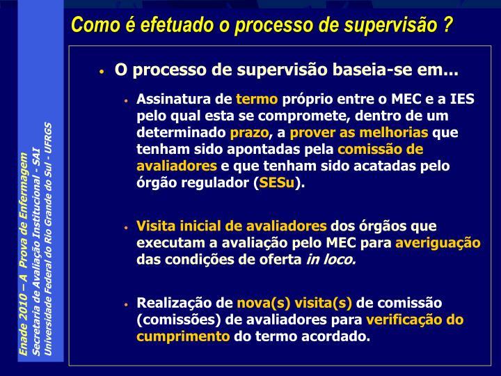 O processo de supervisão baseia-se em...