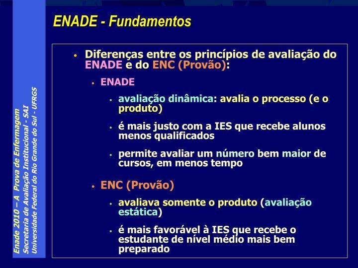 Diferenças entre os princípios de avaliação do