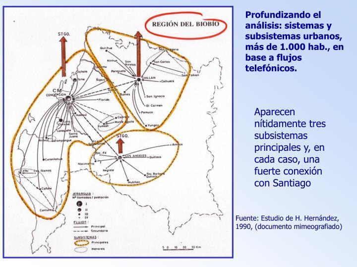 Profundizando el análisis: sistemas y subsistemas urbanos, más de 1.000 hab., en base a flujos telefónicos.