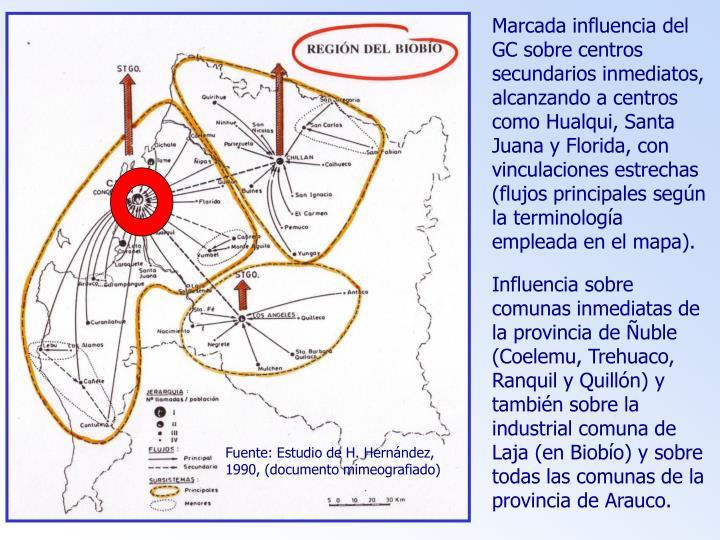 Marcada influencia del GC sobre centros secundarios inmediatos, alcanzando a centros como Hualqui, Santa Juana y Florida, con vinculaciones estrechas (flujos principales según la terminología empleada en el mapa).