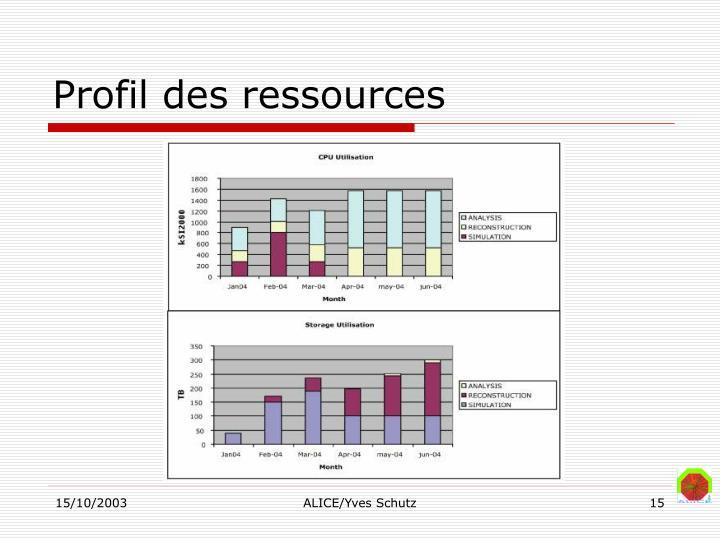 Profil des ressources