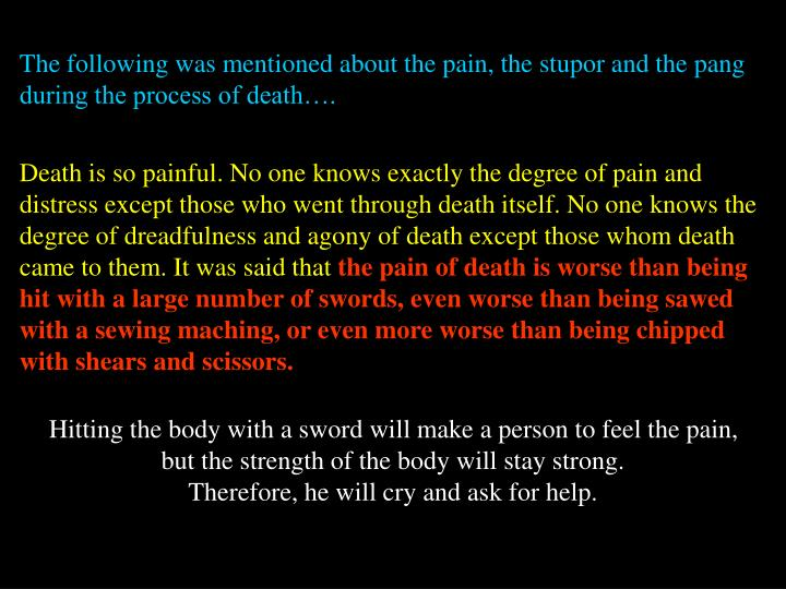The following was mentioned about the pain, the stupor and the pang