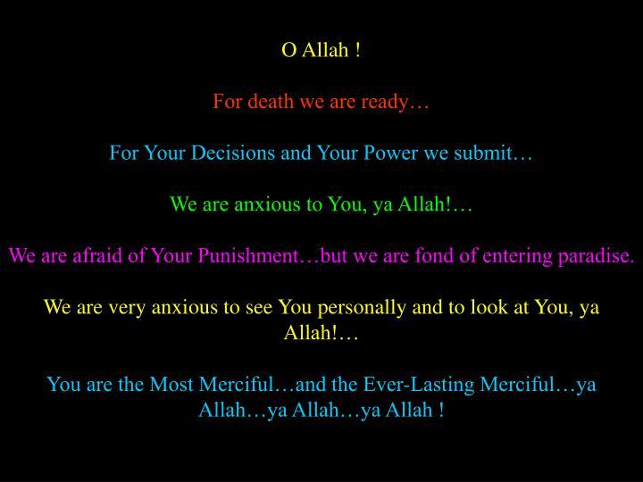 O Allah !