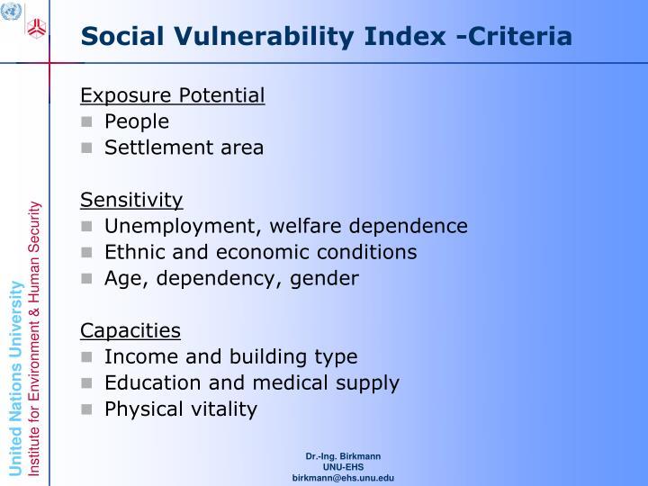 Social Vulnerability Index -Criteria
