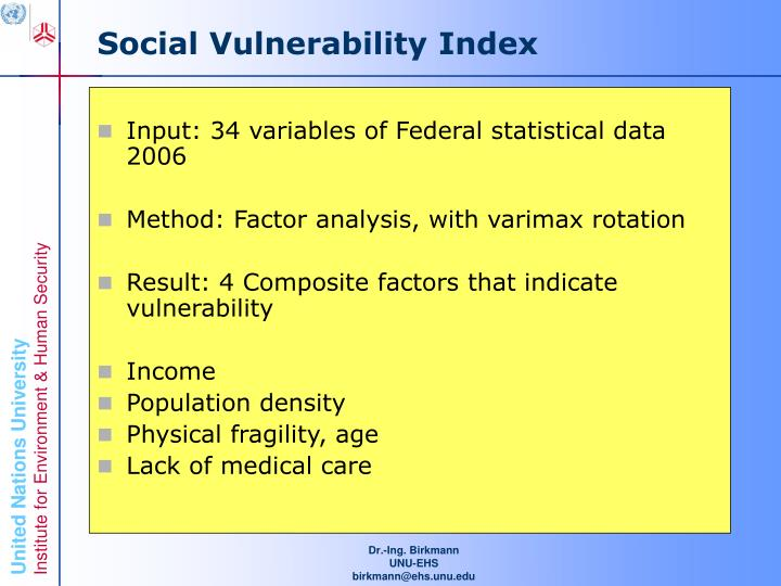 Social Vulnerability Index