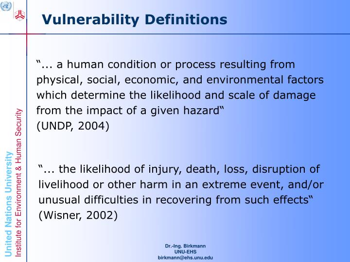 Vulnerability Definitions