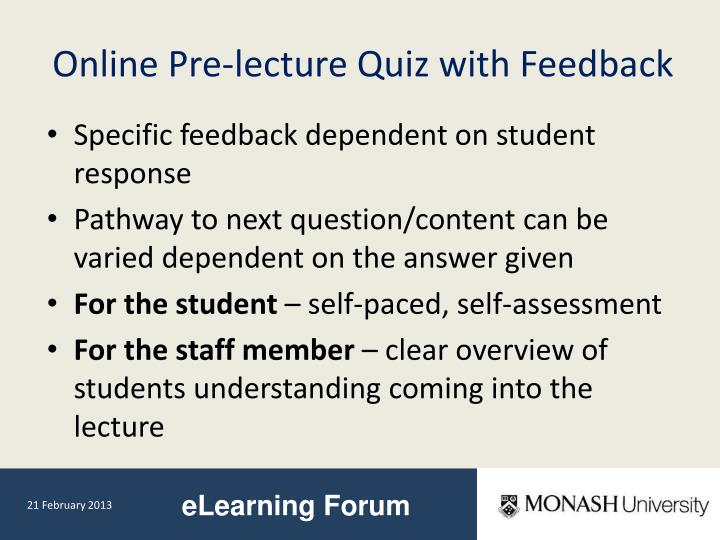 Online Pre-lecture Quiz with Feedback
