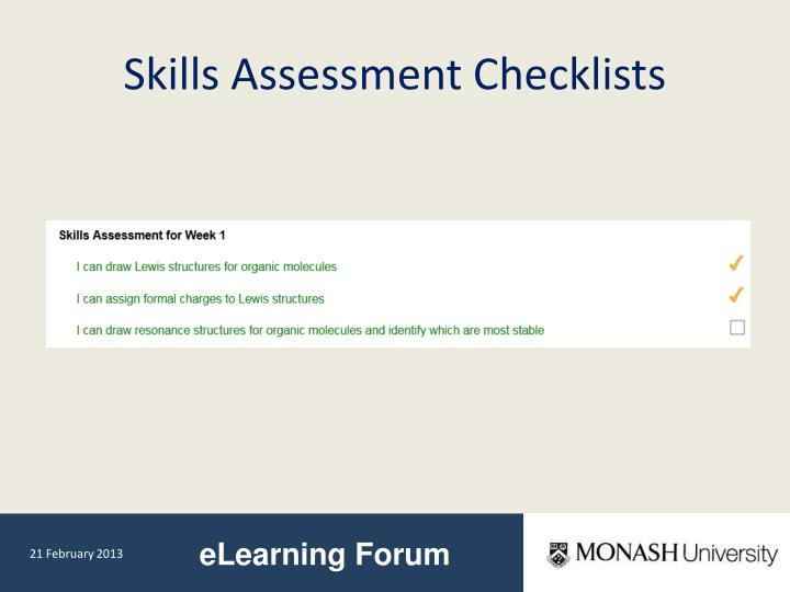 Skills Assessment Checklists