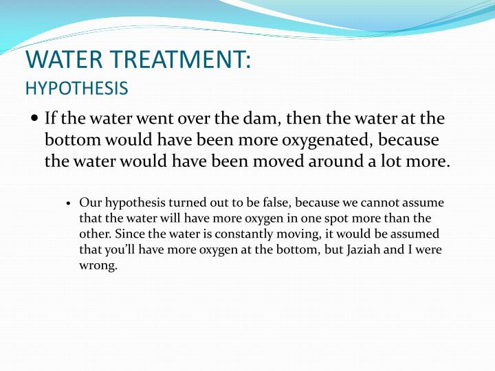 WATER TREATMENT: