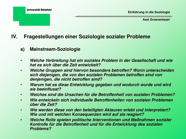 Fragestellungen einer Soziologie sozialer Probleme