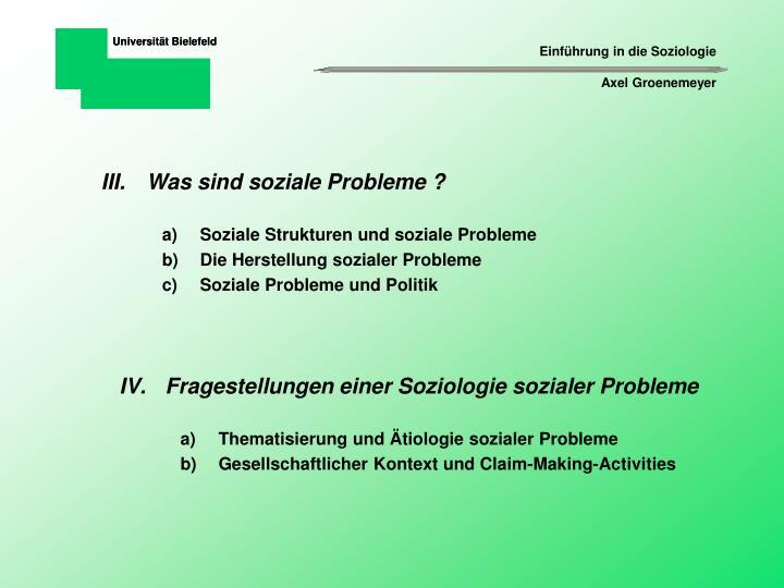 Was sind soziale Probleme ?