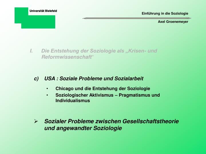 """Die Entstehung der Soziologie als """"Krisen- und Reformwissenschaft"""