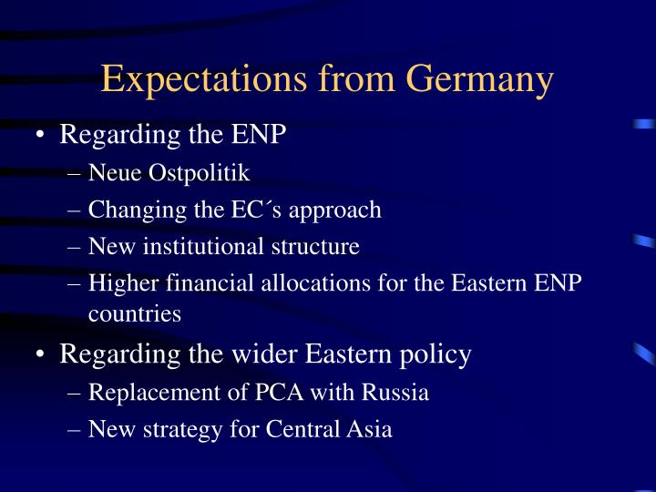 Expectations from Germany