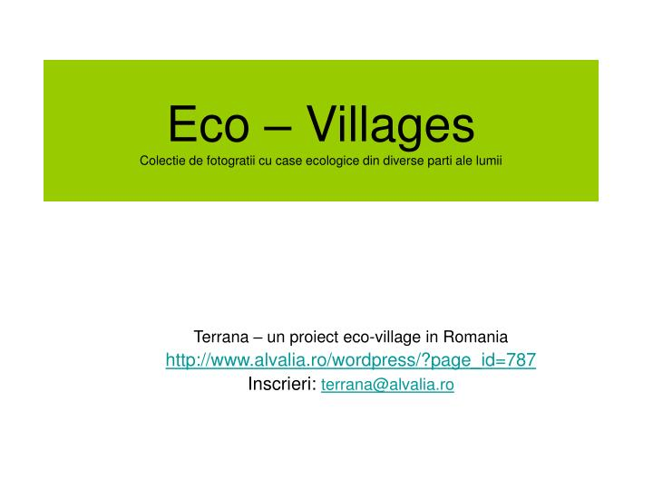 Eco – Villages