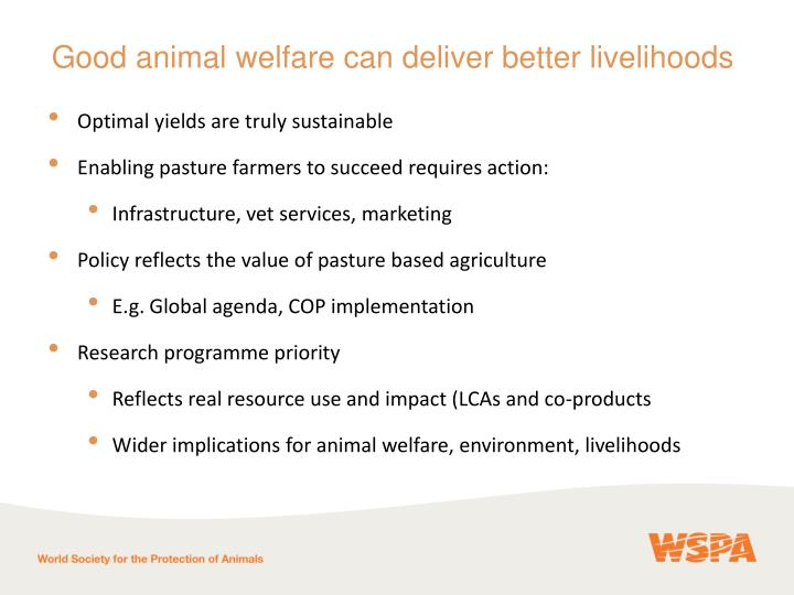 Good animal welfare can deliver better livelihoods