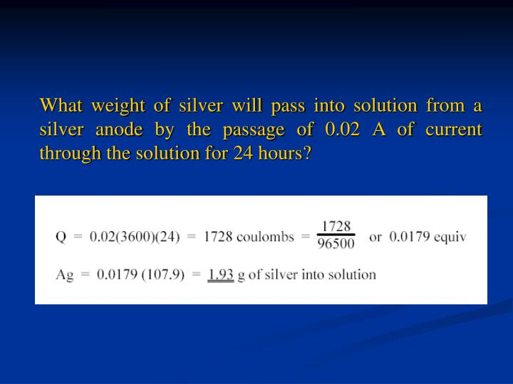 What weight of silver will pass into solution from a silver anode by the passage of 0.02 A of current through the solution for 24 hours?
