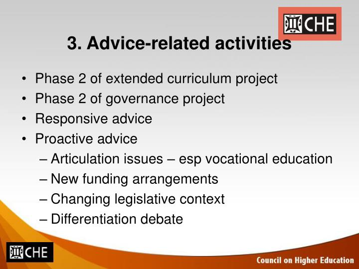 3. Advice-related activities