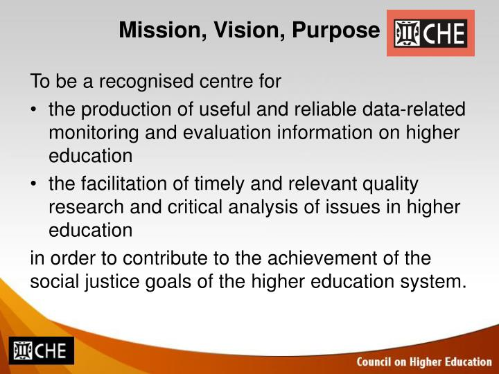 Mission vision purpose