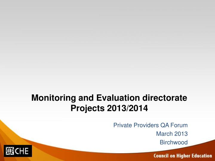 Monitoring and evaluation directorate projects 2013 2014
