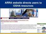 arra website directs users to osha resources