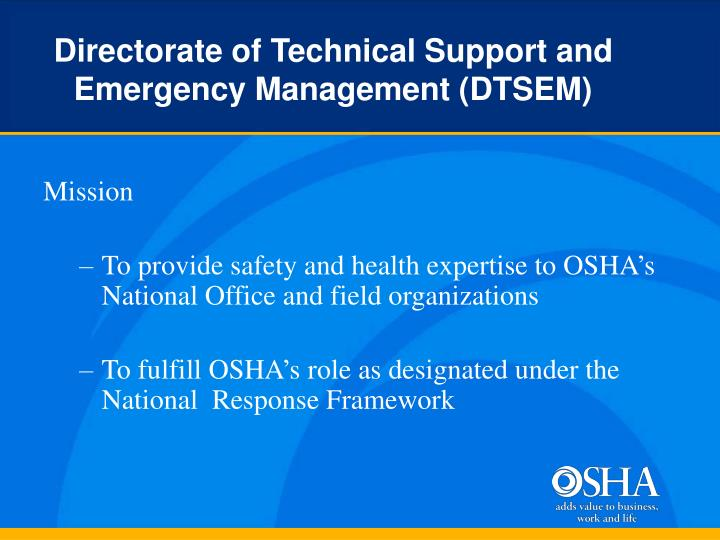 Directorate of technical support and emergency management dtsem