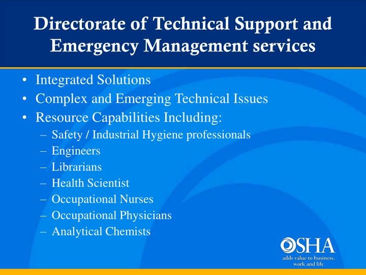 Directorate of Technical Support and Emergency Management services