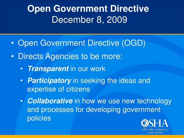 Open Government Directive