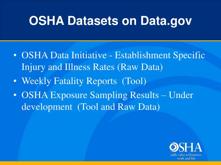 OSHA Datasets on Data.gov