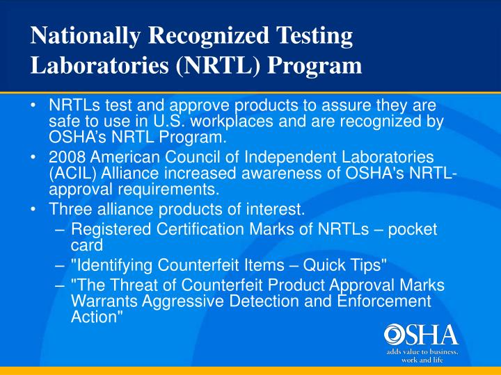 Nationally Recognized Testing Laboratories (NRTL) Program