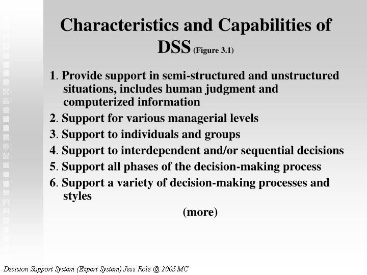 Characteristics and Capabilities of DSS