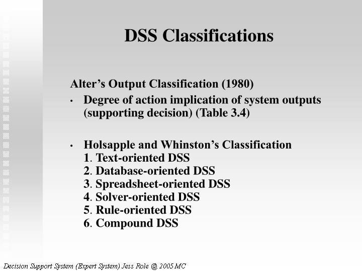 DSS Classifications