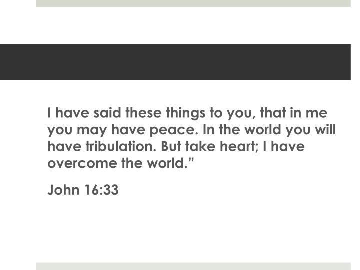 I have said these things to you, that in me you may have peace. In the world you will have tribulation. But take heart; I have overcome the world.""