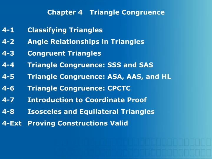 Chapter 4Triangle Congruence