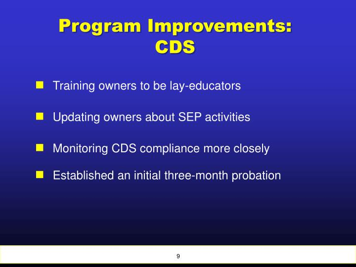 Program Improvements: