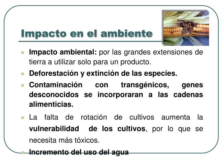 Impacto en el ambiente