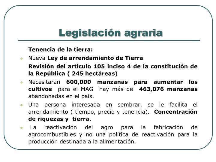 Legislación agraria