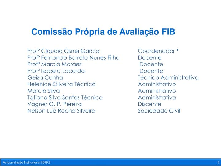 Comissão Própria de Avaliação FIB