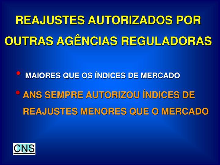 REAJUSTES AUTORIZADOS POR OUTRAS AGÊNCIAS REGULADORAS