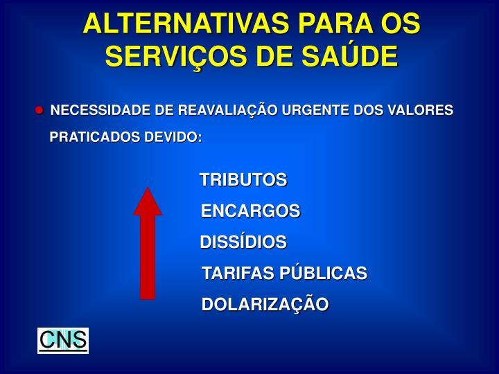 ALTERNATIVAS PARA OS SERVIÇOS DE SAÚDE