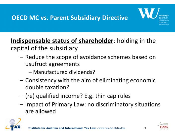 OECD MC vs. Parent Subsidiary Directive