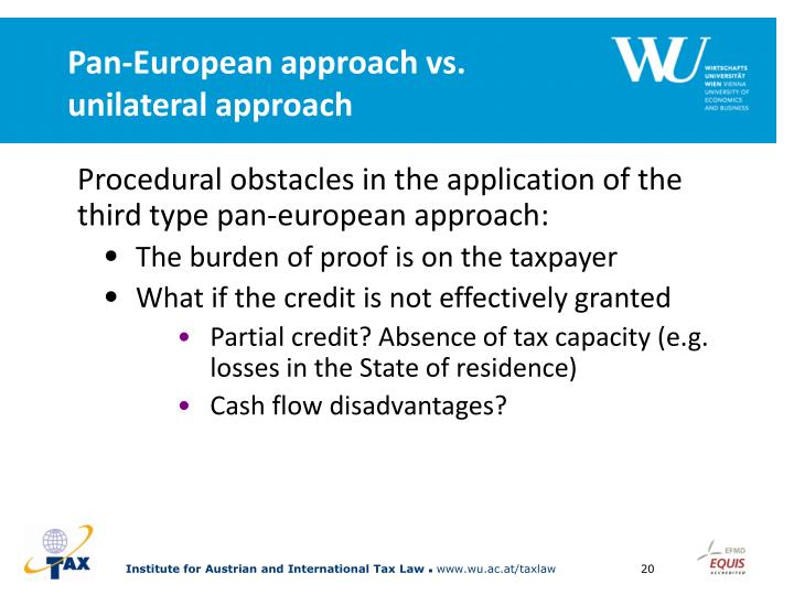 Pan-European approach vs. unilateral approach