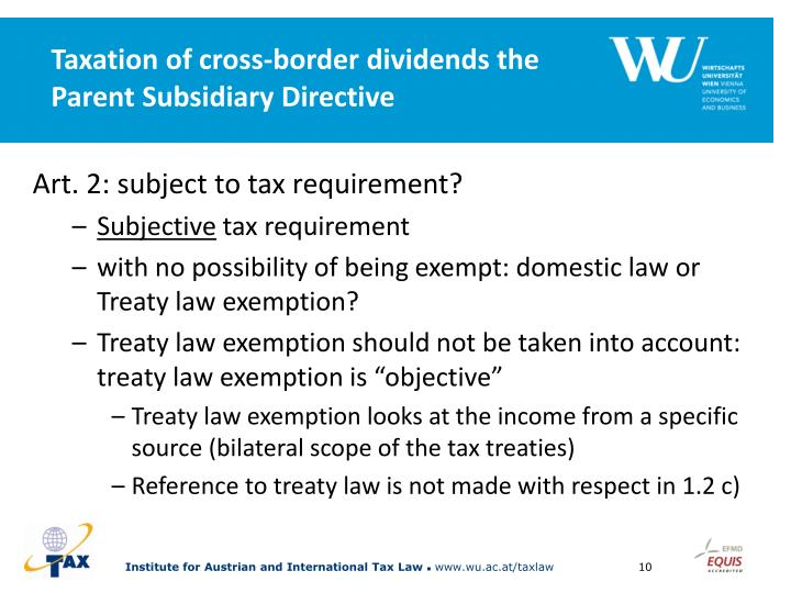Taxation of cross-border dividends the Parent Subsidiary Directive
