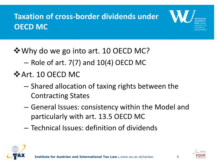 Taxation of cross border dividends under oecd mc