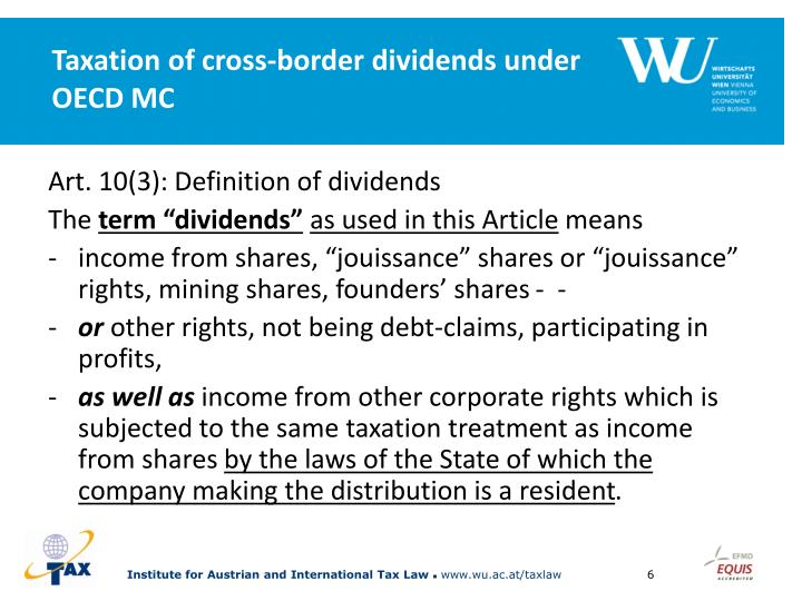 Taxation of cross-border dividends under OECD MC