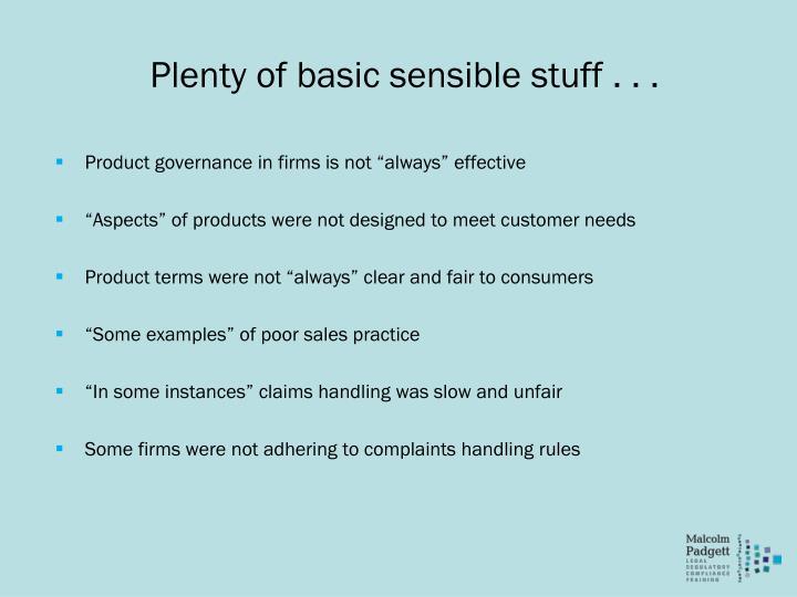 Plenty of basic sensible stuff . . .