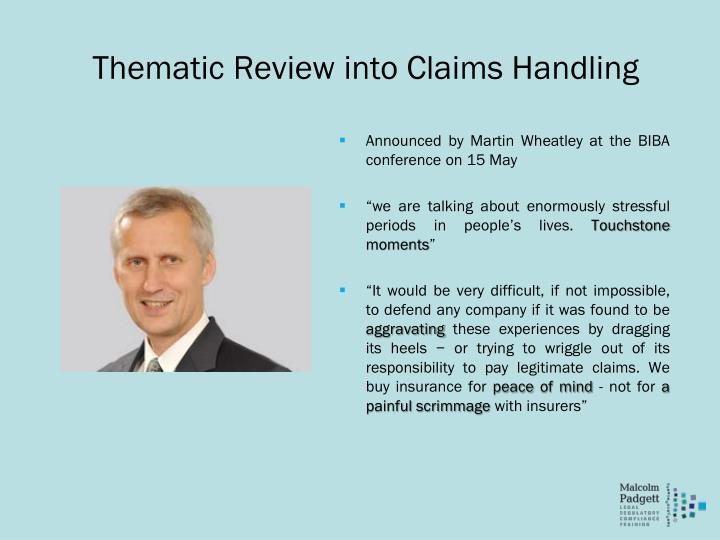 Thematic Review into Claims Handling