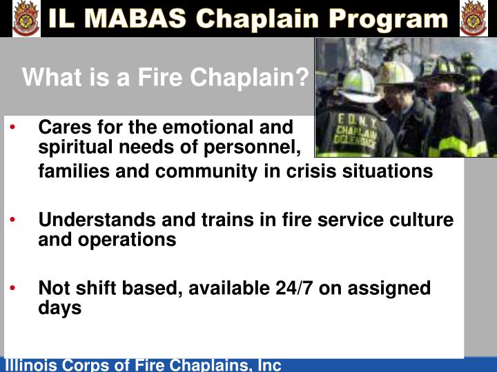 What is a fire chaplain