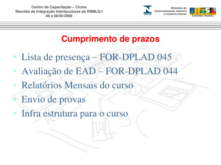 Lista de presença – FOR-DPLAD 045